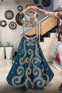 Glorious Rama Blue Color Taffeta Silk Mirror Embroidered Lehenga Choli Online