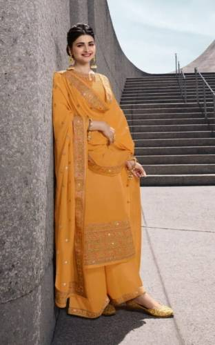 Admirable Apricot Color Designer Embroidered Work Satin Georgette Salwar Suit For Wedding Wear
