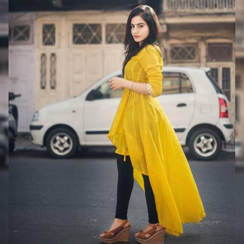 Dazzling Yellow Color PC Cotton Up And Down Pattern Design Full Stitched Kurti For Festive Wear