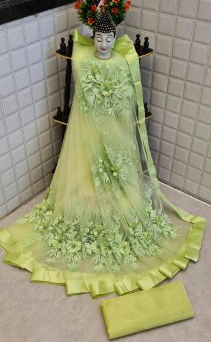 Adorable Light Green Color Fancy Soft Net Flower Pearl Stone Embroidered Work Saree Blouse For Function Wear