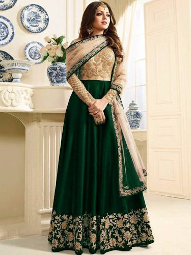Adorable Green Color Mulberry Silk Net Beautiful Coding Sequence Embroidered Work Party Wear Salwar Suit Anarkali Style
