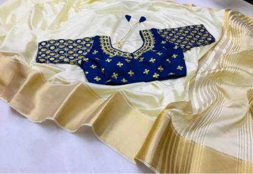 Party Wear Golden Colour Nylon Silk Saree And Blue Contrast Full Stitched Blouse For Women