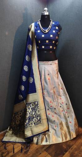 Alluring Blue Banarasi Brocate Lehenga Duptta For Wedding Wear