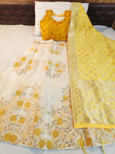 Classy Yellow Colour Banarasi With Brocate Lehenga Choli For Wedding Wear