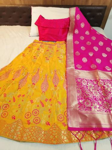 Breathtaking Pink Yellow Banarasi With Brocate Designer Lehenga Choli For Party Wear