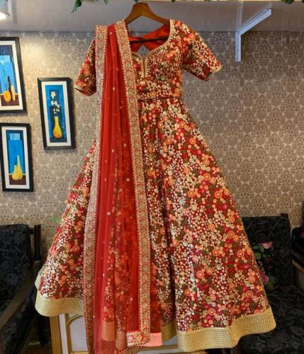 Bit Colour Faux Georgette Embroidered Work Anarkali Salwar Suit For Wedding Wear