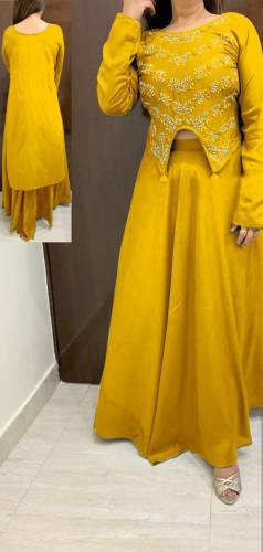 Astounding Yellow Colour Rayon With Emb Work Kurti With Skirt