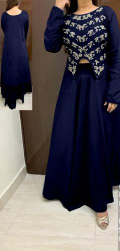 Navy Blue Colour Rayon With Hand Work High Low Crop Top With Skirt