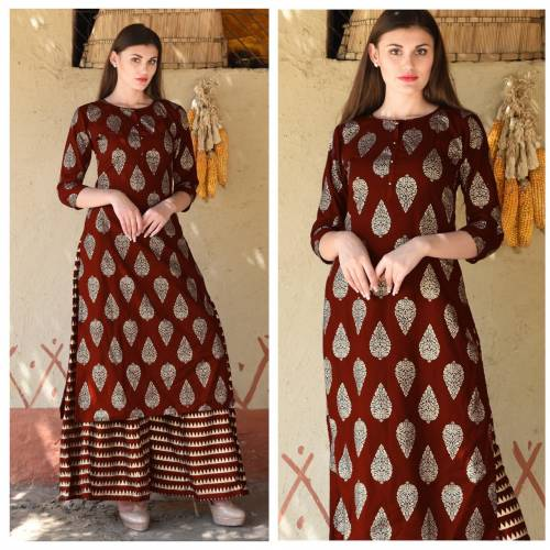 Alluring Brown Colour Rayon Printed Readymade Kurta With Plazo For Woman