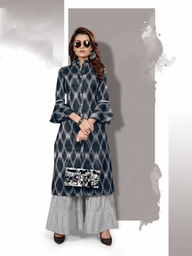 Beautiful Black Grey Cotton Printed Sharara Kurti Design Online ARYA127B