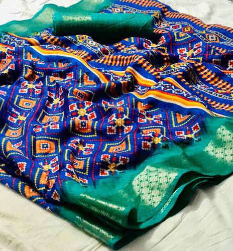 Blue Colour Cotton Silk With Border Saree And Cotton Silk Soft Blouse For Wedding Wear