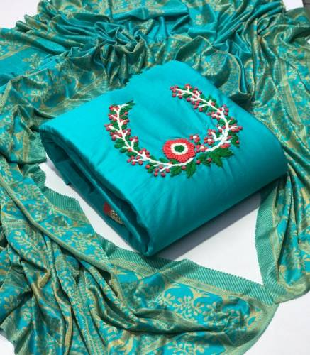 Blue Colour Cotton With Hand Work Salwar Suit For Wedding Wear