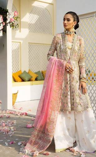 Classy Pink Colour Heavy Net Hand Work Salwar Suit For Wedding Wear