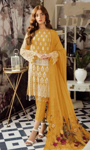 Yellow Colour Georgette Embroidered Sequence Work Salwar Suit Design Online