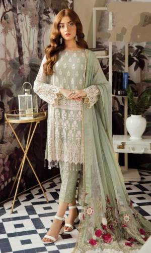 Green Colour Georgette Embroidered Sequence Work Salwar Suit For Women