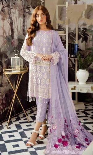 Purple Colour Georgette Embroidered Sequence Work Salwar Suit For Women
