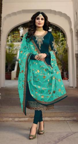 Rama Colour Faux Georgette Embroidered Salwar Suit For Wedding Wear