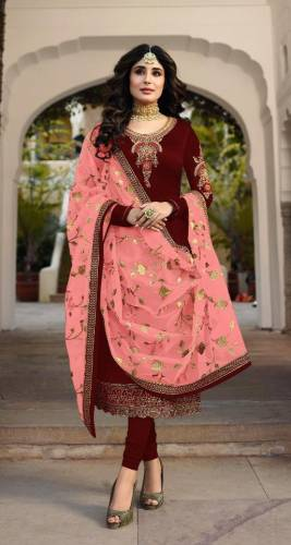 Dark Color Satin Georgette Embroidered Straight Cut Suit For Party Wear