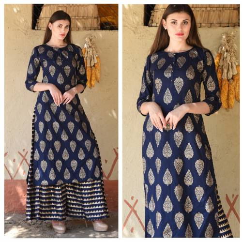 Amazing Blue Color Rayon Printed Readymade Kurta With Plazo For Woman
