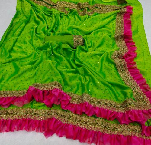 Beautiful Green Color Silk Base Ruffle Style Saree Blouse Design Online