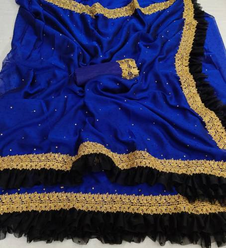 Navy Blue Color Silk Base Ruffle Style Saree Blouse Design Online