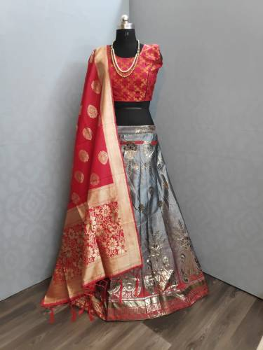 Beautiful Grey Colour Banarasi Brocade Dupatta For Wedding Wear
