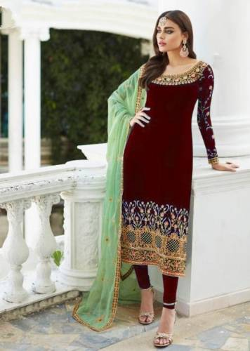 Red Colour Georgette Embroidered Work Salwar Suit For Wedding Wear