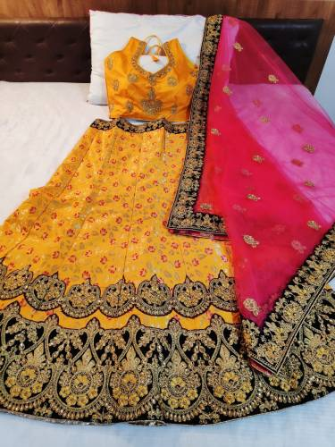Dazzling Yellow Banarasi Silk Designer Lehenga For Function Wear