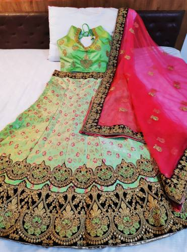 Dazzling Green Color Banarasi Silk Designer Lehenga Choli For Women