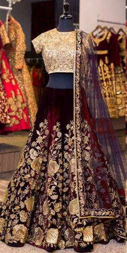Function Wear Maroon Color Velvet Embroidered Lehenga Choli