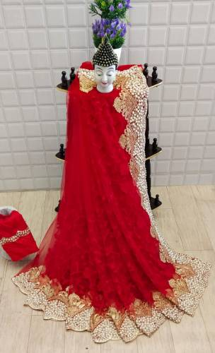 Admiring Red Soft Net With Embroidered Moti Pearl Work Saree