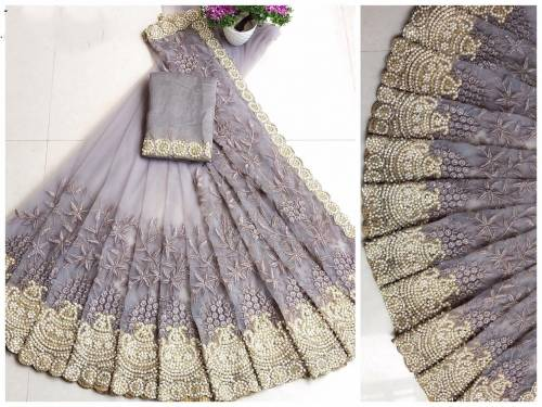 Admiring Grey Soft Net Embroidered Fancy Saree Blouse For Function