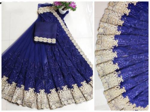 Admiring Navy Colour Net Embroidered Pearl Work Fancy Saree