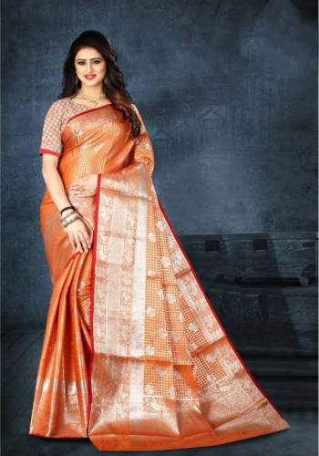 Impressive Orange Color Beautiful Kanjeevaram Silk Printed Function Wear Saree Blouse