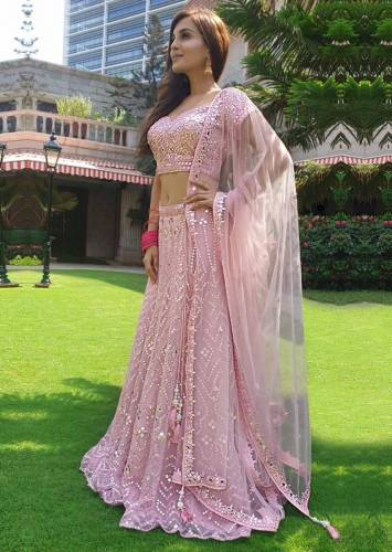 Alluring Pink Colour Georgette Embroidered Work Wedding Wear Lehenga Choli VT