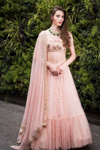 Appealing Peach Colour Net Embroidered Work Wedding Wear Lehenga Choli