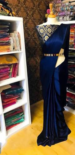 Pretty Royal Blue Satin Silk With Lace Border Saree Blouse Design