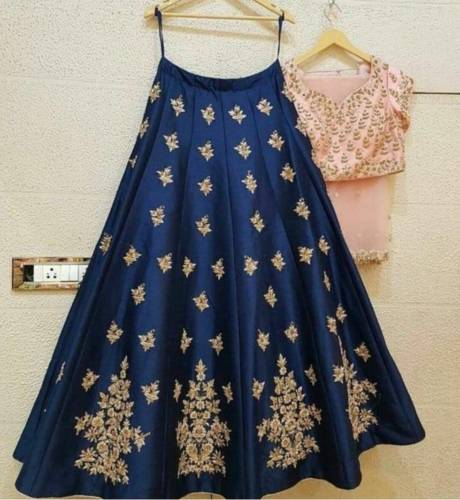 Distinguished Peach Designer Silk With Embroidered Work Party Wear Lehenga Choli