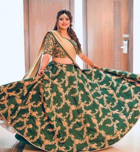 Imperial Dark Green Tapetta Silk With Embroidered Work Lehenga Choli Design