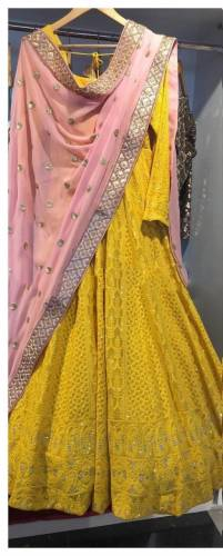 Beautiful Yellow Georgette With Chain Stitch Work Salwar Suit