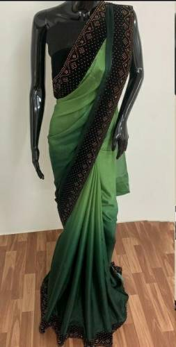 Appealing Green Color Satin Silk With Machins Stone Diamond Work Saree Blouse