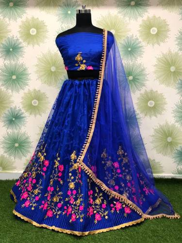 Absorbing Royal Blue Net With Embroidered Zari Work Lehenga Choli Design