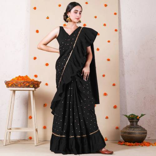 Lovely Black Ruffle Vichitra Silk With Printed Fancy Saree For Women