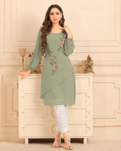 Beautiful Light Green Color Straight cut Tunic with overall pearl work with Glamours Sleeves Pair with Cigarette Pants