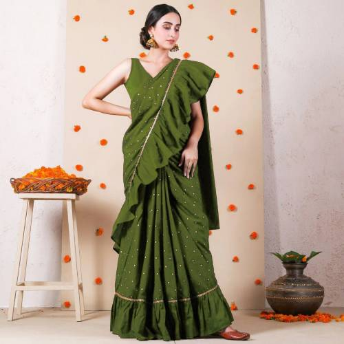 Lovely Green Ruffle Vichitra Silk Printed Fancy Saree For Women
