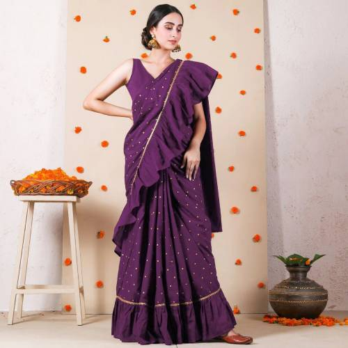Lovely Purple Ruffle Vichitra Silk With Printed Fancy Saree For Women