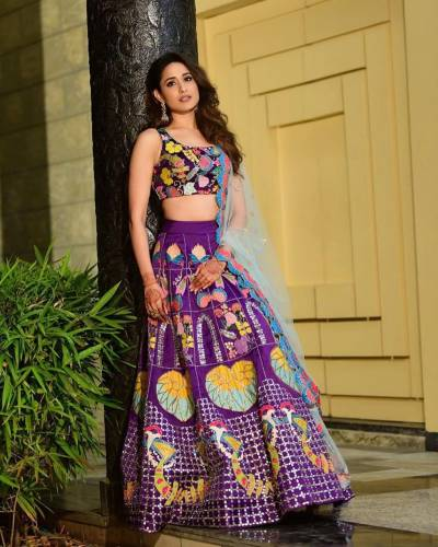 Preferable Purple Color Soft Taffeta Silk Stylish Printed Lehenga Choli For Function Wear