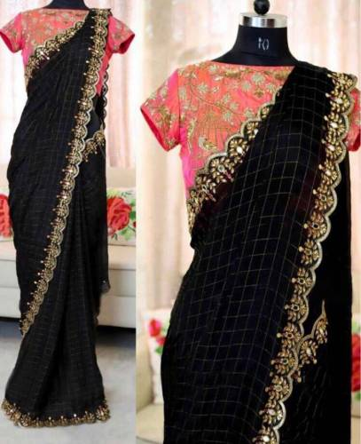 Black Chanderi Cotton Checks Embroidered Fancy Saree For Women