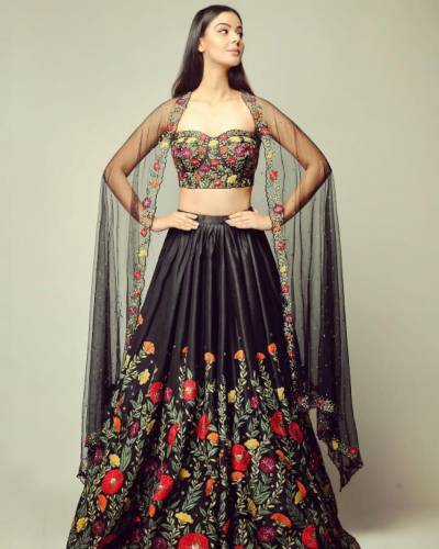 Phenomenal Black Color Taffeta Silk Beautiful Embroidered Wedding Wear Lehenga Choli For Indian Wear
