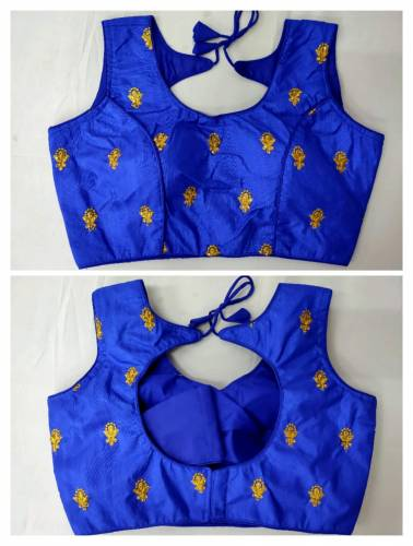 Beautiful Blue Golden Work Fantam Readymade Blouse Design Online